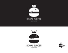 Burger Logo Design. Royal Hamburger Of Flat Style. Fast Food Icon.