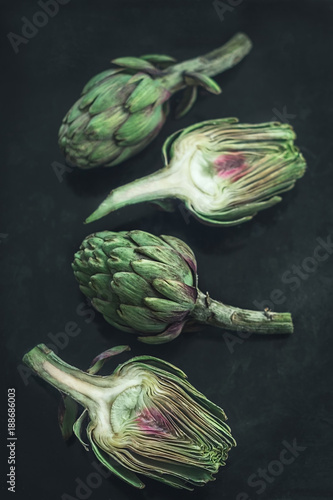 Opened fresh artichoke on the  dark background Wallpaper Mural