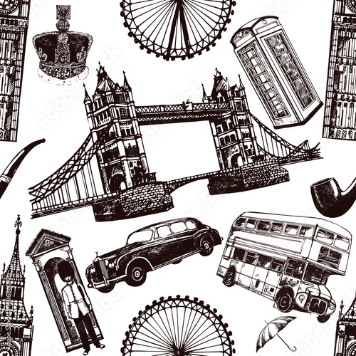 Fotografie, Obraz  Seamless pattern of hand drawn sketch style England themed objects