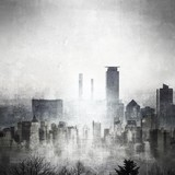 Grunge black and white city skyline with copy space. - 188687677