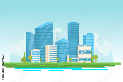 City buildings vector illustration. Small building, big skyscrapers and large city tall skyscrapers on background. Urban street with park and trees near cityscape. Metropolis background. © ikonstudio