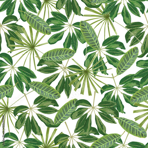 Leinwand Poster Seamless pattern with palm leaves.