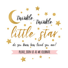 Twinkle Twinkle Little Star Text With Gold Star And Moon For Girl Boy Baby Shower Card Invitation