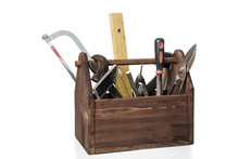 Old Carpenter Wooden Toolbox W...