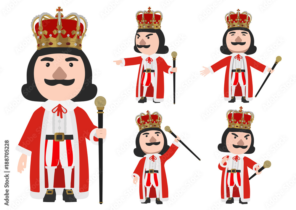 Fototapeta King wearing crown stand on the white background with Cane, vector Illustration