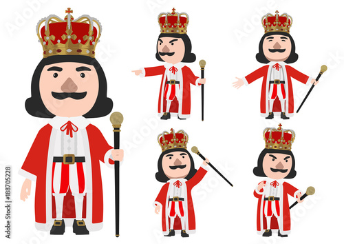 Foto King wearing crown stand on the white background with Cane, vector Illustration