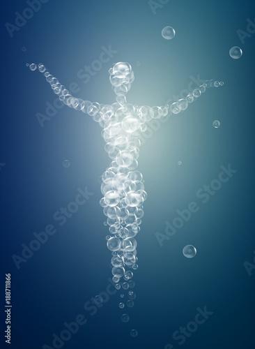 Fotografie, Obraz  weightless feeling, human soul concept, light feeling inside, woman silhouette b