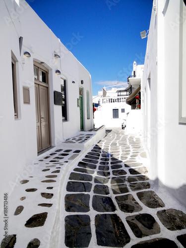 Mykonos island street view © fannrei