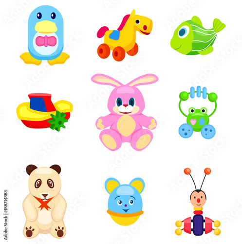 Deurstickers Cute Soft and Plastic Toys Isolated Illustrations