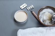 Machine For Shaving, Shaving Brush And Soap