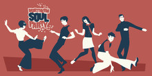 Group Of Five Young People Wearing Retro Clothes, Dancing Mod Or Northern Soul Style