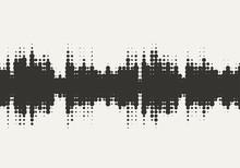 Vector Halftone Sound Wave Des...