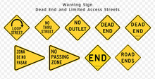Road Sign. Warning. Dead End S...