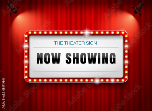 theater sign on curtain Wallpaper Mural