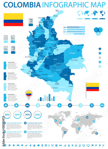 Valokuva  Colombia - infographic map and flag - Detailed Vector Illustration