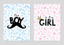 Baby Shower Posters Set. Vector Invitation With Cute Kids Pattern. Baby Arrival And Shower Collection With Lettering. It's A Girl, It's A Boy Greeting Card