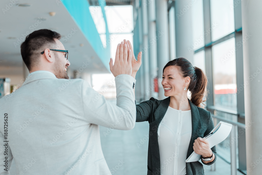Fototapety, obrazy:  Two business people high-five. Job well done.