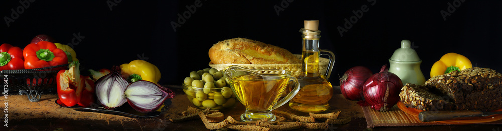 Fototapeta Panorama still life with olive oil and vegetables