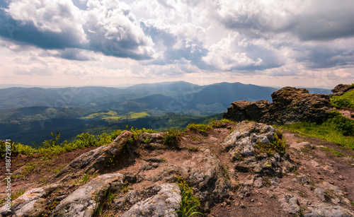 Deurstickers Wit view from a cliff in to the valley. gorgeous landscape of Carpathian mountains
