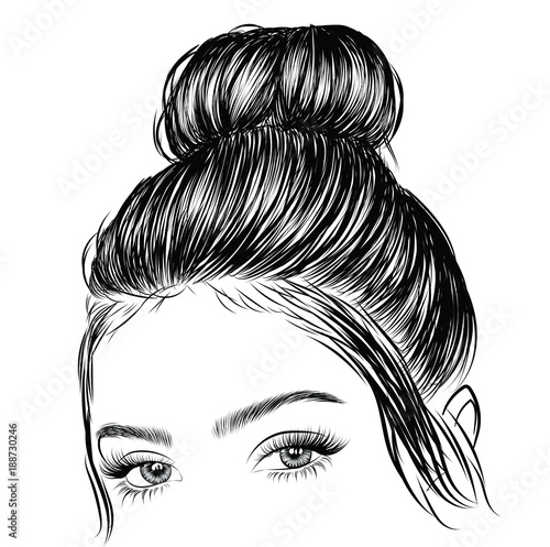 Fototapeta Hand-drawn beauty woman with luxurious cute bun hairstyle. Idea for card typography vector.Wedding style obraz
