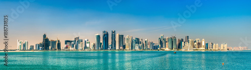 Wall Murals Blue Skyline of Doha, the capital of Qatar.