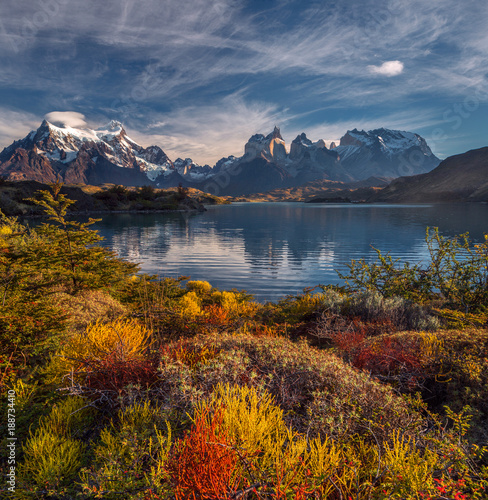 Stampa su Tela The National Park Torres del Paine, Lakes and mountains colorful autumn landscape