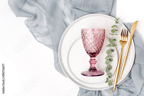 Tableware and decorations for serving a festive table. Plates wine glasses and cutlery with  sc 1 st  Adobe Stock & Tableware and decorations for serving a festive table. Plates wine ...