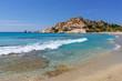 Sea with with shallow crystal clear sea water, Mikri Vigla beach on Naxos island, Greece