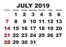 July Month Calendar 2019 Engli...