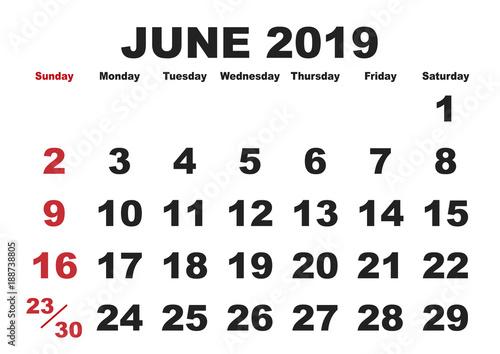 Calendario 2019 English.June Month Calendar 2019 English Usa Buy This Stock Vector