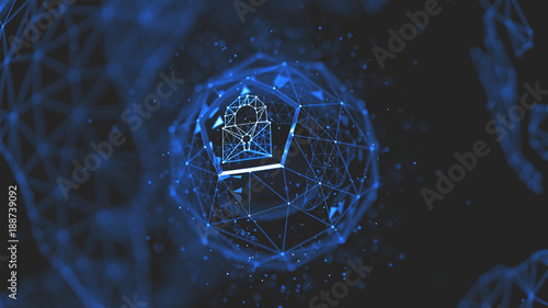 Photo  Abstract crypto cyber security technology on global network background