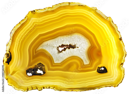 Agate Crystal cross section isolated on white background Wallpaper Mural