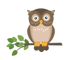 Vector Flat Cute Brown Owl Sit...
