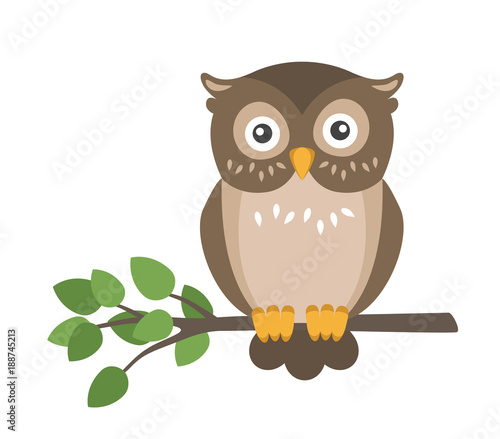 Vector flat cute brown owl sitting on branch isolated on white background Fotomurales