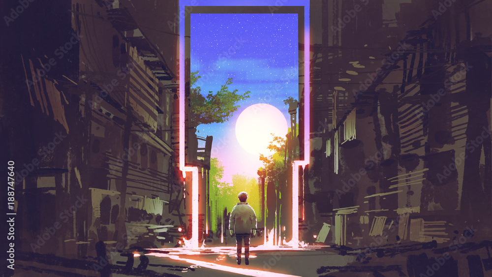 Fototapeta young boy standing in abandoned city looking at the magic gate with beautiful place, digital art style, illustration painting - obraz na płótnie