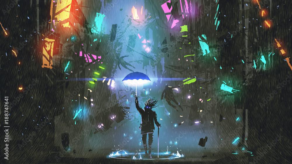 Fototapety, obrazy: sci-fi scene showing the man holding a magic umbrella destroying futuristic city, digital art style, illustration painting