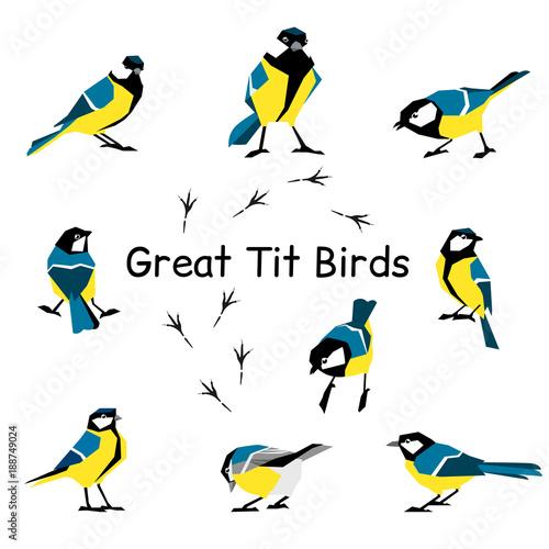 Spoed Foto op Canvas Vogels, bijen Vector bird icon collection.