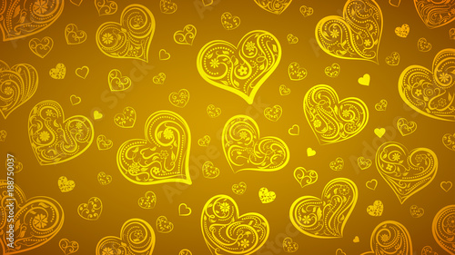 Background of big and small hearts with ornament of curls, flowers and leaves, in yellow colors © Olga Moonlight