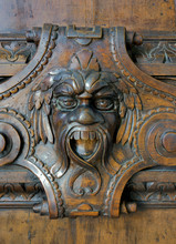 Carved Gargoyle In Wooden Door In Doge's Palace, Venice, 2017.