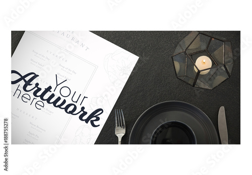Top View Menu Mockup With Simple Place Setting Buy This Stock - Menu mockup template