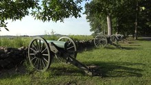 Line Of Cannon On Seminary Ridge, Gettysburg National Battlefield, PA, USA.