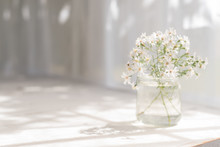 Small White Flowers In A Glass Jar.