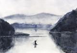 Akwarela Łódź rybacka i wyspa z górami. Tradycyjny orientalny. styl sztuki azjatyckiej - 188765071