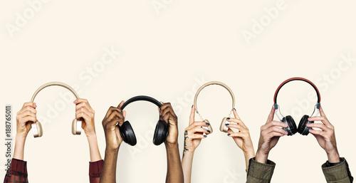 Fototapeta  Diversity hands holding handset
