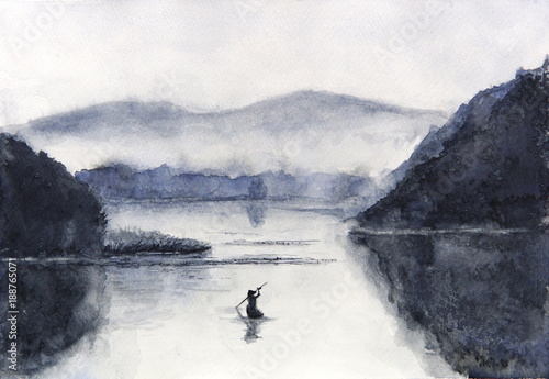 Watercolor Fishing boat and island with mountains. Traditional oriental. asia art style