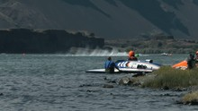 Speed Boat Racers In Lake