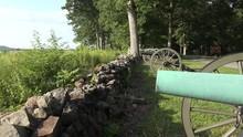 Line Of Cannon On Seminary Ridge, Gettysburg National Battlefield, PA, USA.