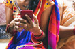 canvas print picture - Indian woman using mobile phone