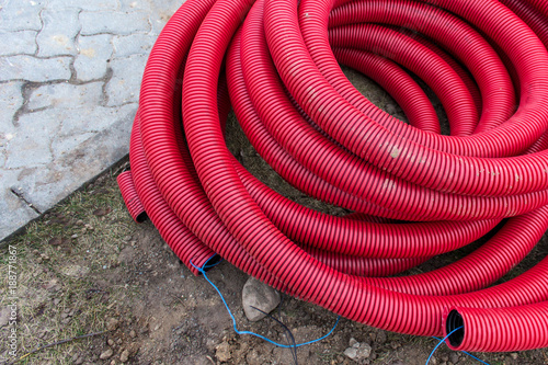 Terrific Red Plastic Pipes For Underground Electrical Wires Lying On The Wiring 101 Nizathateforg