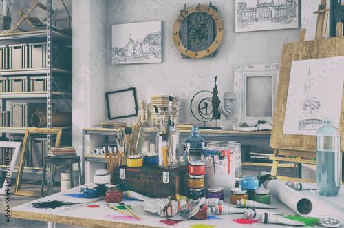 Künstlerische Ausstattung im Atelier mit einem Tisch voller Farben und Pinsel, i Canvas Print